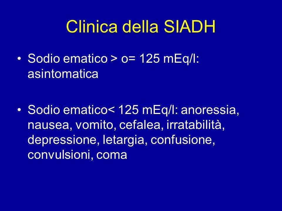 Clinica della SIADH Sodio ematico > o= 125 mEq/l: asintomatica