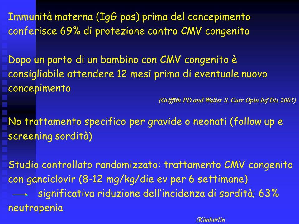 Immunità materna (IgG pos) prima del concepimento conferisce 69% di protezione contro CMV congenito