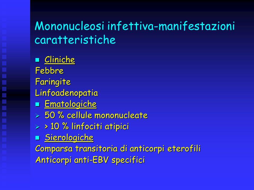 Mononucleosi infettiva-manifestazioni caratteristiche