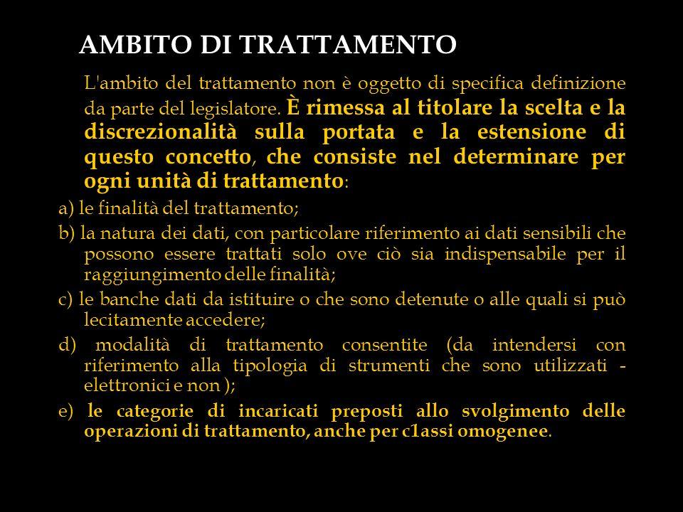 AMBITO DI TRATTAMENTO