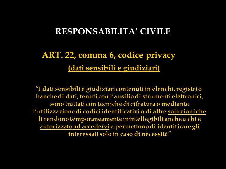 RESPONSABILITA' CIVILE (dati sensibili e giudiziari)