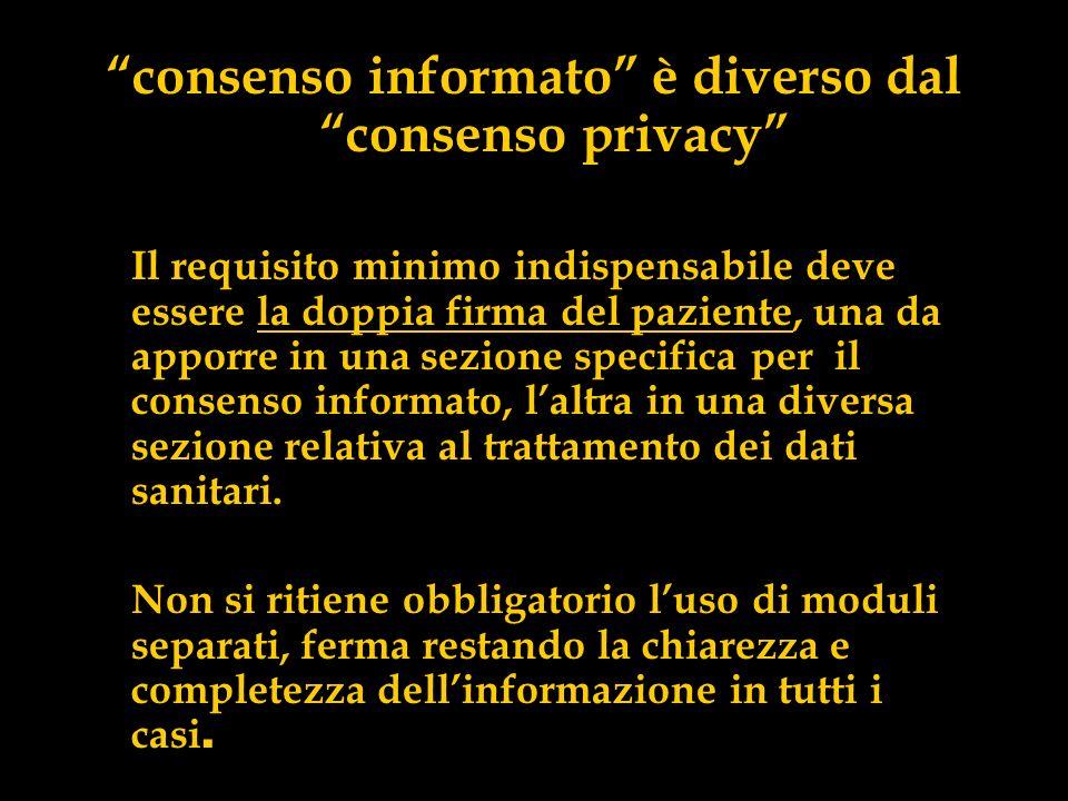 consenso informato è diverso dal consenso privacy