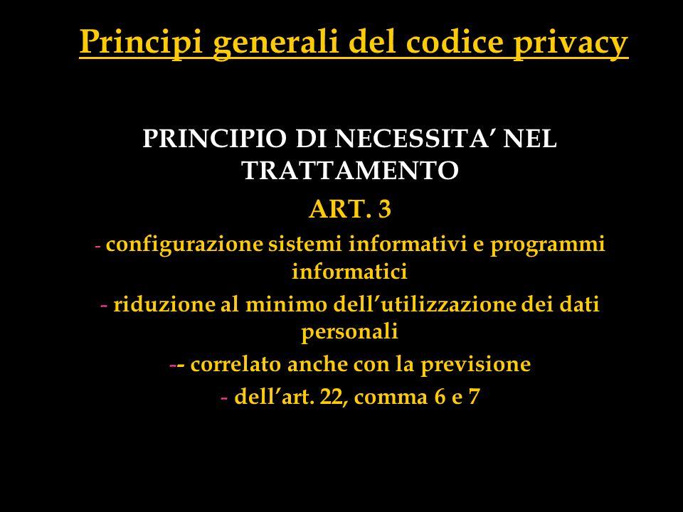 Principi generali del codice privacy
