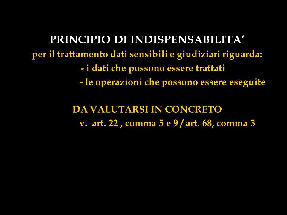 PRINCIPIO DI INDISPENSABILITA'