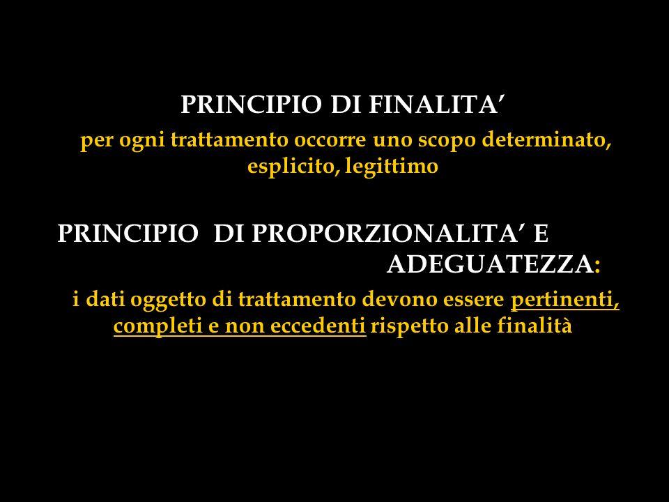 PRINCIPIO DI FINALITA'