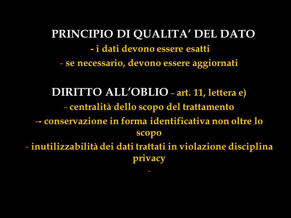 DIRITTO ALL'OBLIO – art. 11, lettera e) PRINCIPIO DI QUALITA' DEL DATO