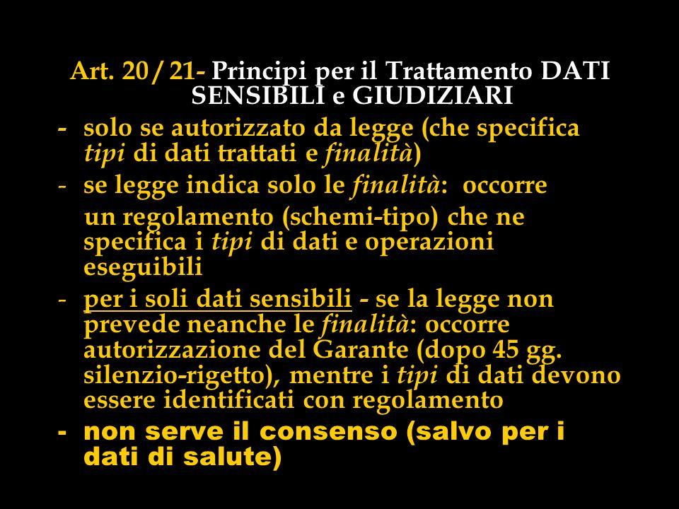 Art. 20 / 21- Principi per il Trattamento DATI SENSIBILI e GIUDIZIARI