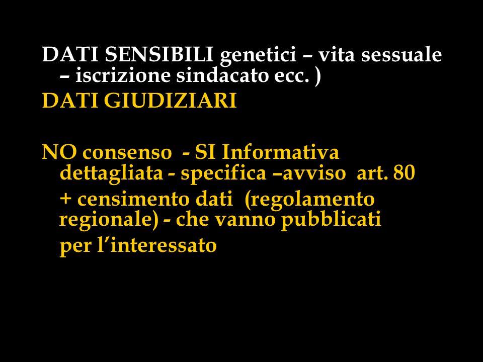 DATI SENSIBILI genetici – vita sessuale – iscrizione sindacato ecc. )