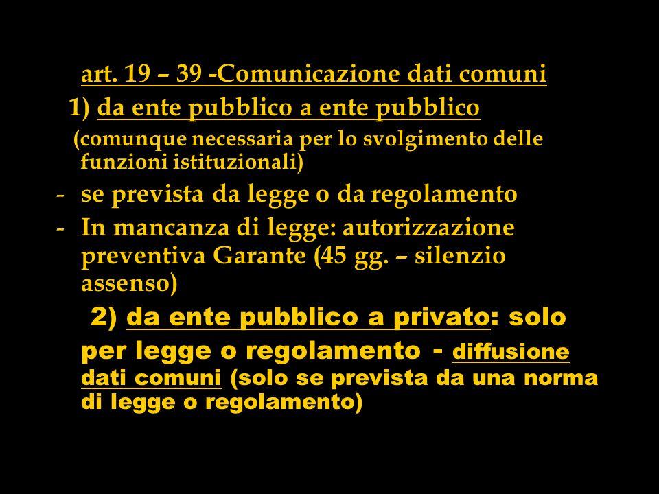 art. 19 – 39 -Comunicazione dati comuni
