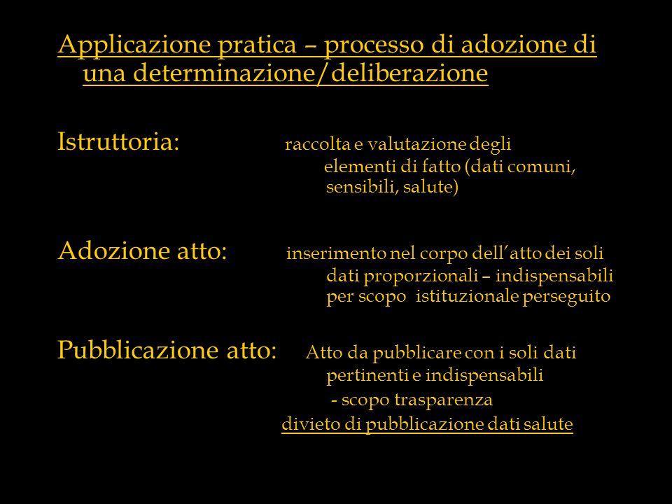Applicazione pratica – processo di adozione di una determinazione/deliberazione