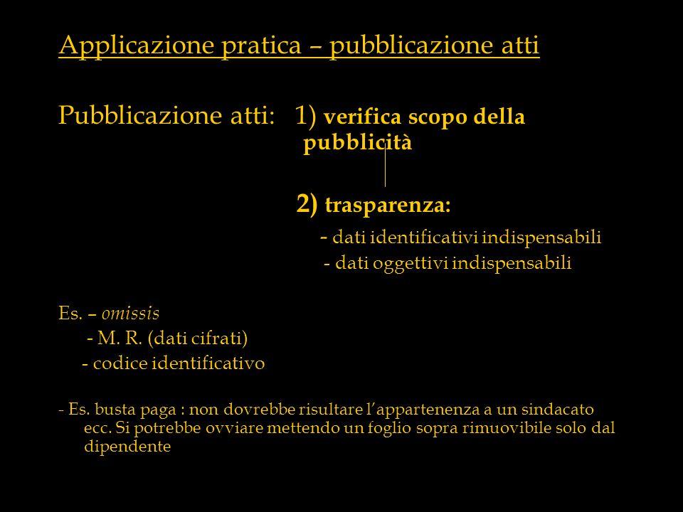 Applicazione pratica – pubblicazione atti
