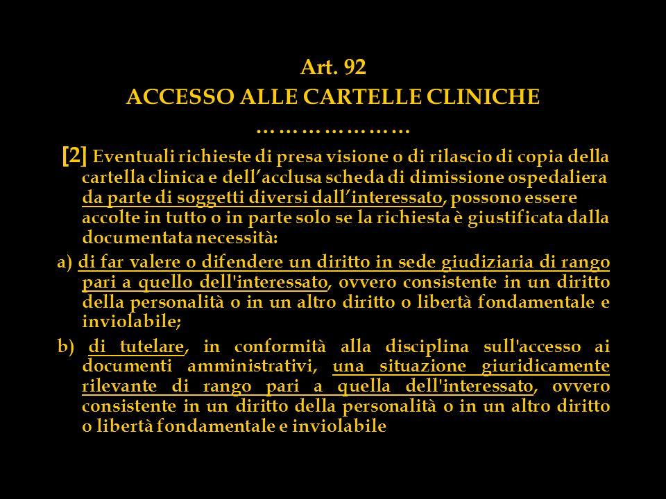 ACCESSO ALLE CARTELLE CLINICHE
