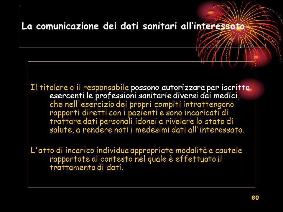 La comunicazione dei dati sanitari all'interessato
