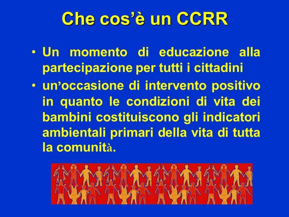 Che cos'è un CCRR Un momento di educazione alla partecipazione per tutti i cittadini.