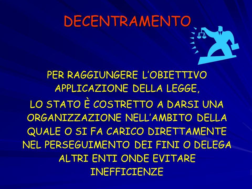 PER RAGGIUNGERE L'OBIETTIVO APPLICAZIONE DELLA LEGGE,