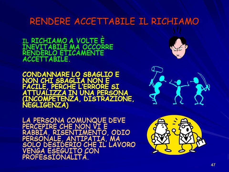 RENDERE ACCETTABILE IL RICHIAMO