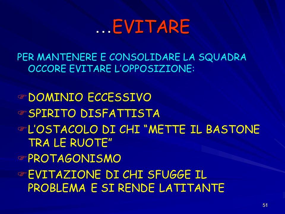 …EVITARE DOMINIO ECCESSIVO SPIRITO DISFATTISTA