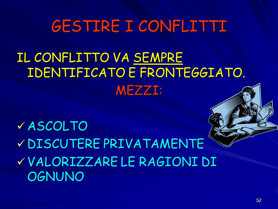GESTIRE I CONFLITTI IL CONFLITTO VA SEMPRE IDENTIFICATO E FRONTEGGIATO. MEZZI: ASCOLTO. DISCUTERE PRIVATAMENTE.