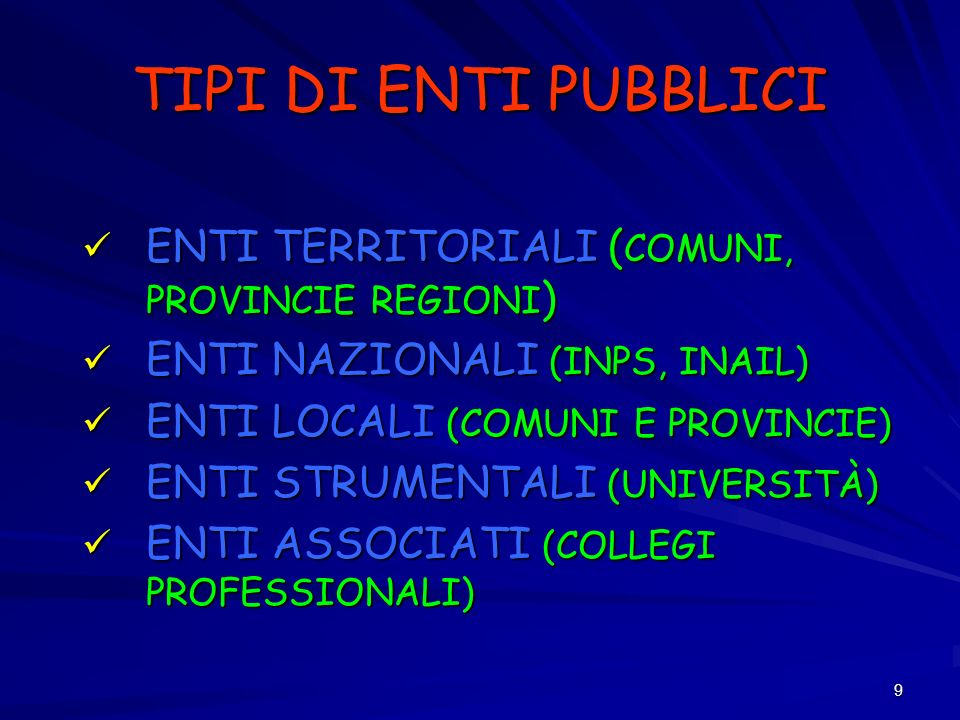 TIPI DI ENTI PUBBLICI ENTI TERRITORIALI (COMUNI, PROVINCIE REGIONI)