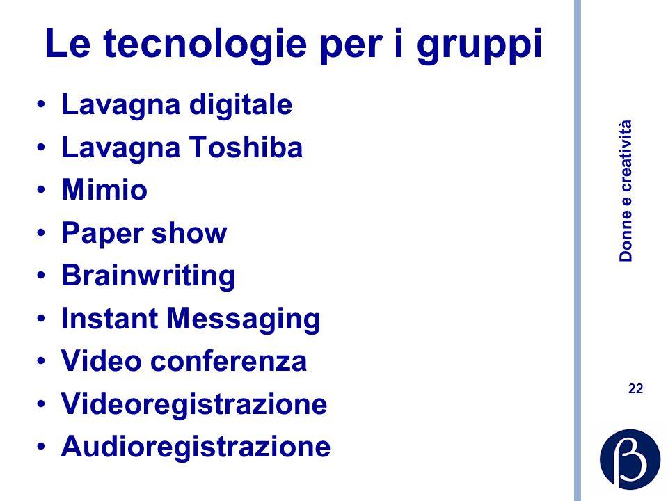 Le tecnologie per i gruppi