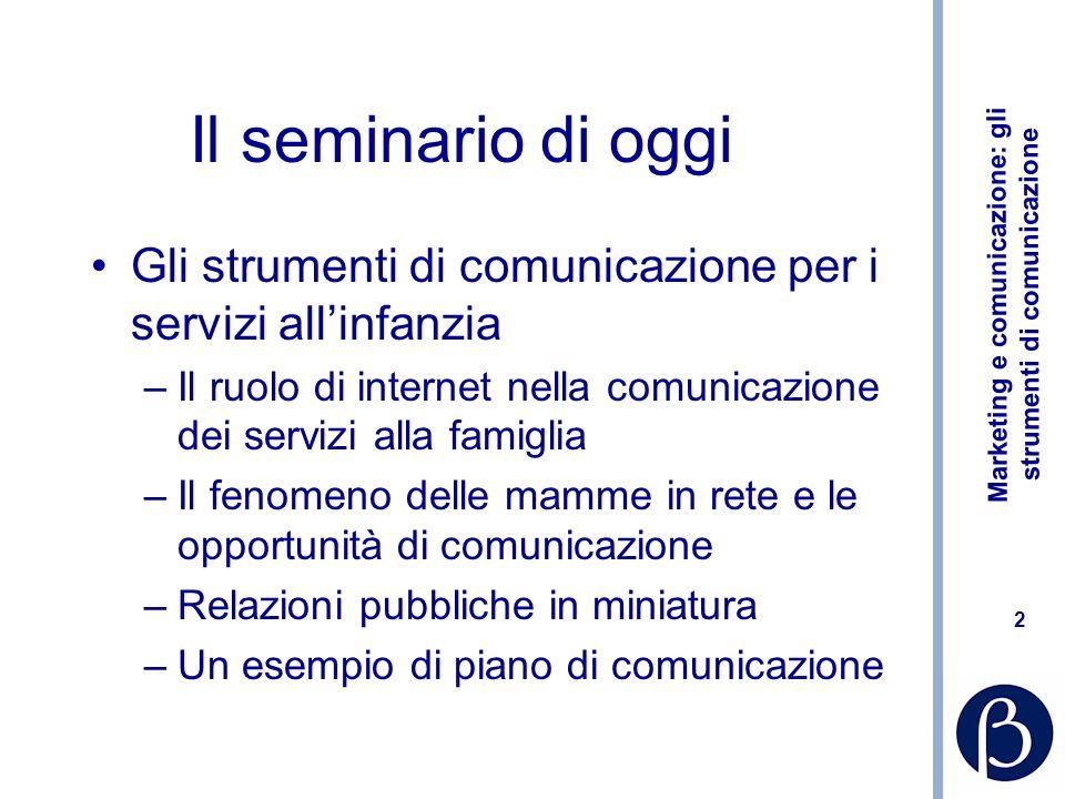 Il seminario di oggi Gli strumenti di comunicazione per i servizi all'infanzia. Il ruolo di internet nella comunicazione dei servizi alla famiglia.