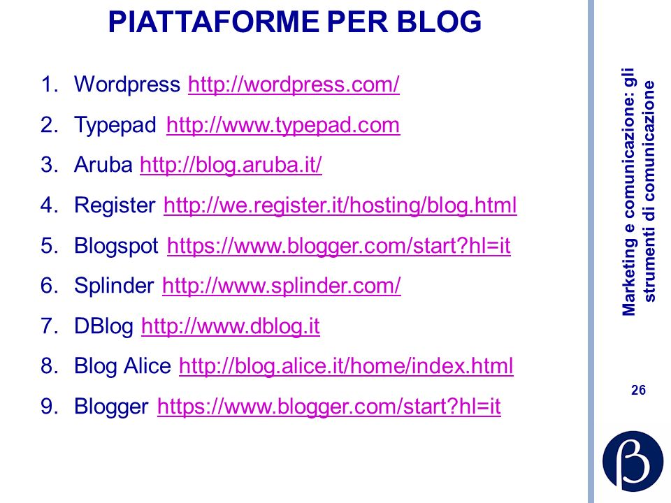 PIATTAFORME PER BLOG Wordpress http://wordpress.com/