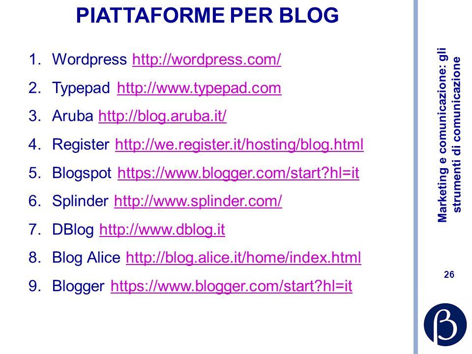 PIATTAFORME PER BLOG Wordpress http://wordpress.com/