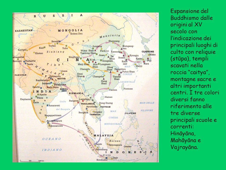 Espansione del Buddhismo dalle origini al XV secolo con l'indicazione dei principali luoghi di culto con reliquie (stūpa), templi scavati nella roccia caitya , montagne sacre e altri importanti centri.