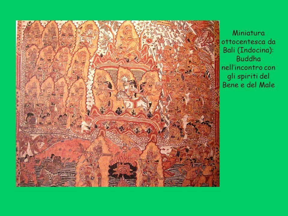 Miniatura ottocentesca da Bali (Indocina): Buddha nell'incontro con gli spiriti del Bene e del Male