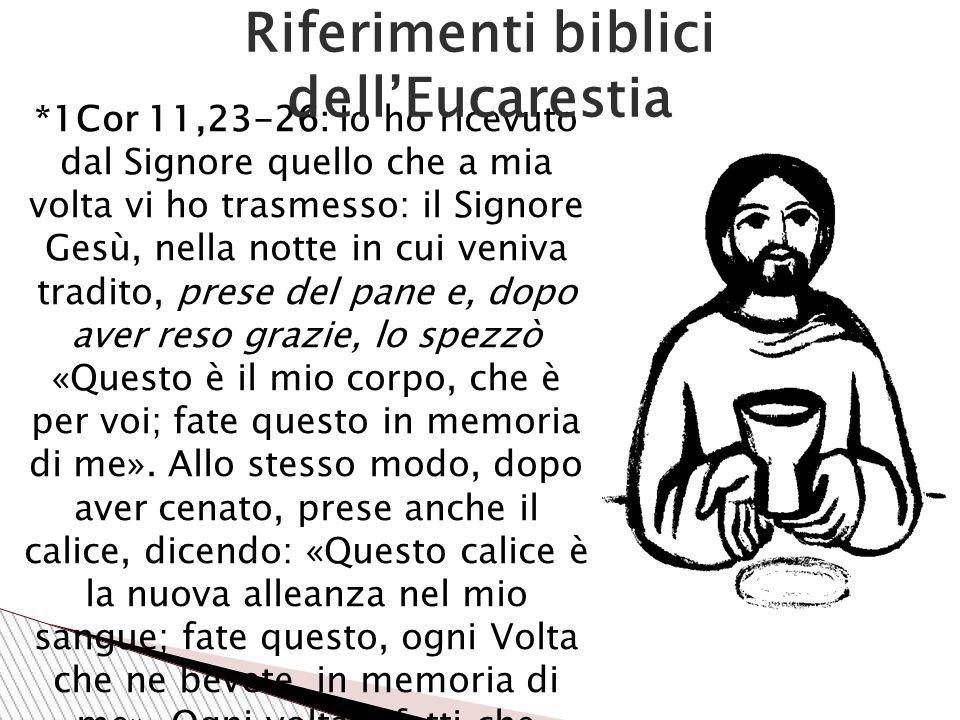 Riferimenti biblici dell'Eucarestia