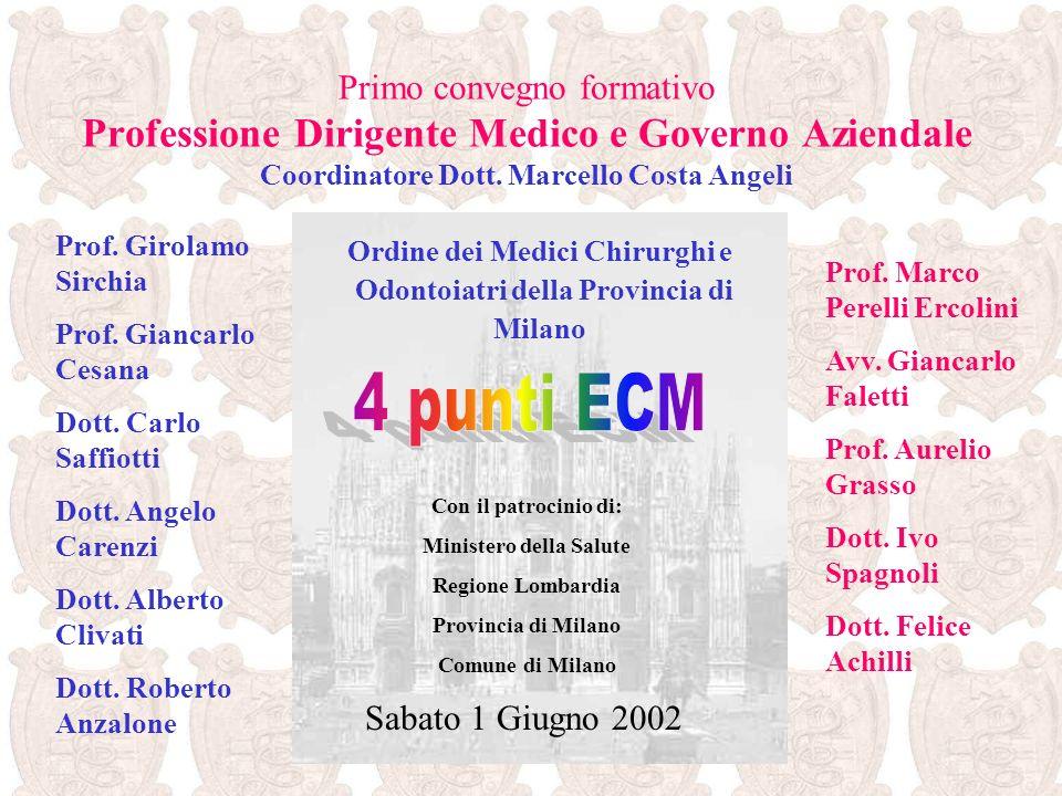 Primo convegno formativo Professione Dirigente Medico e Governo Aziendale Coordinatore Dott. Marcello Costa Angeli