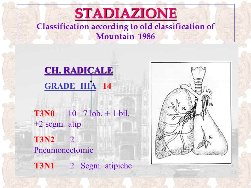 STADIAZIONE Classification according to old classification of Mountain 1986