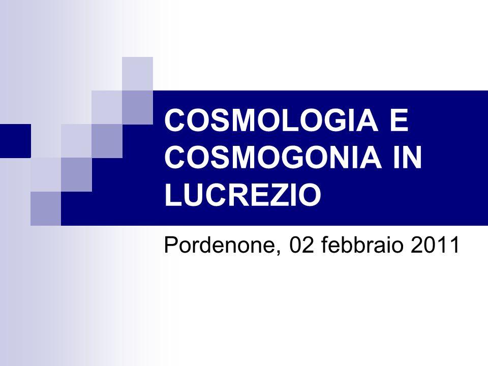 COSMOLOGIA E COSMOGONIA IN LUCREZIO