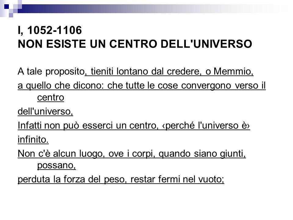 I, 1052-1106 NON ESISTE UN CENTRO DELL UNIVERSO