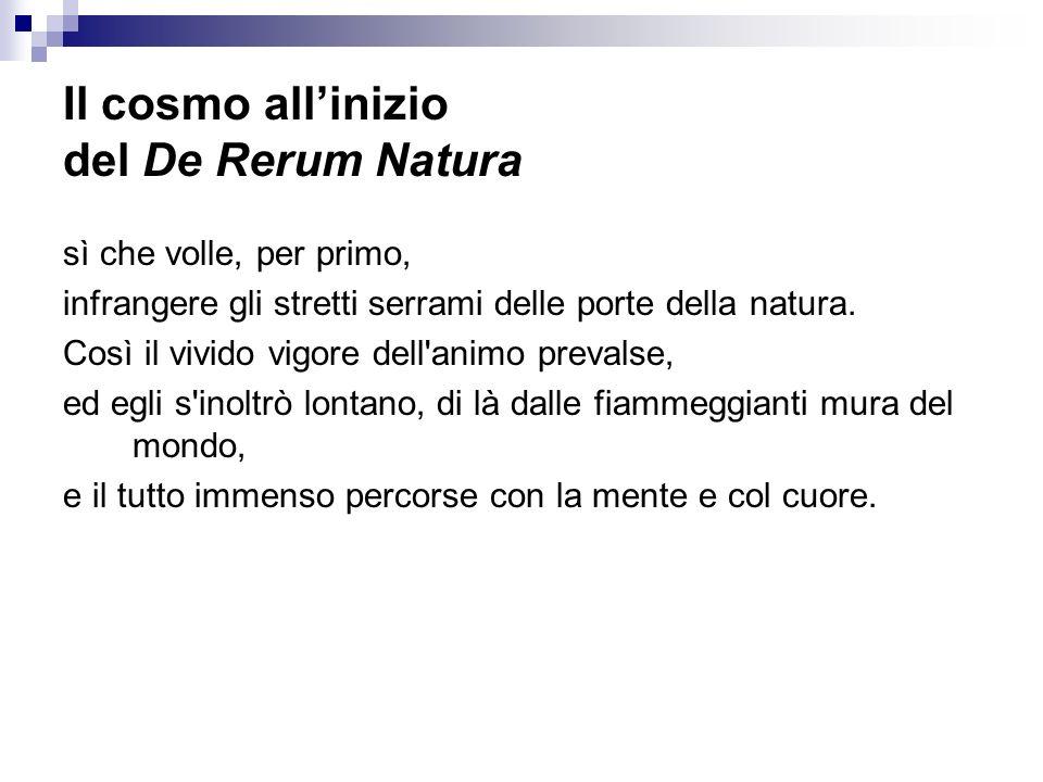 Il cosmo all'inizio del De Rerum Natura