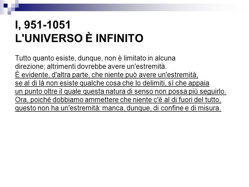 I, 951-1051 L UNIVERSO È INFINITO