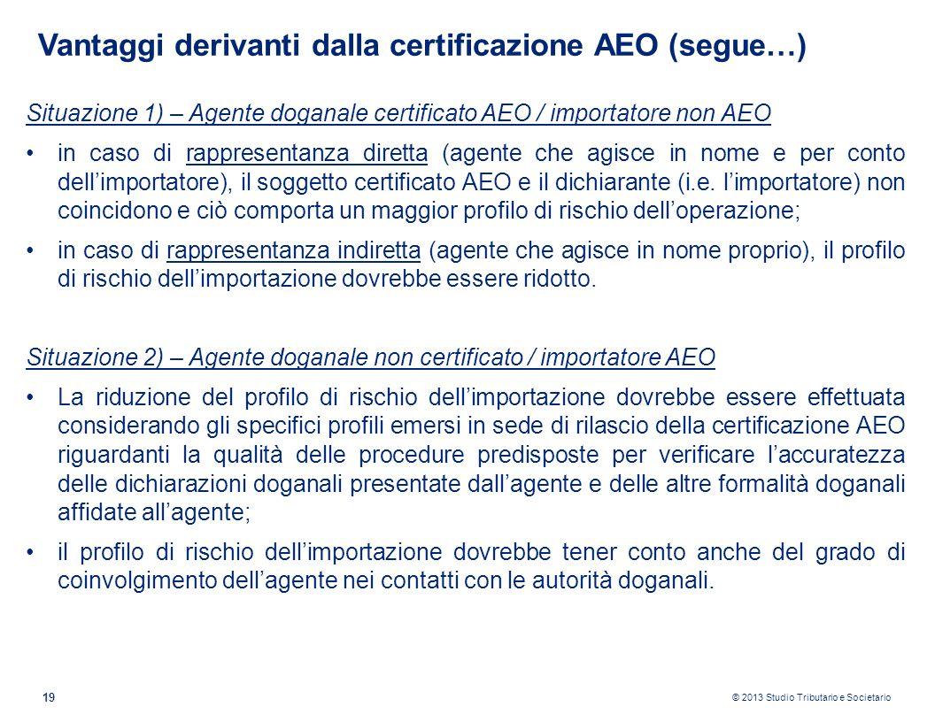 Vantaggi derivanti dalla certificazione AEO (segue…)