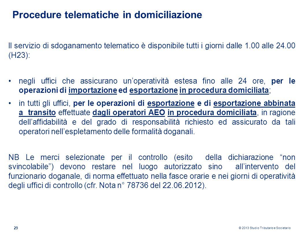 Procedure telematiche in domiciliazione