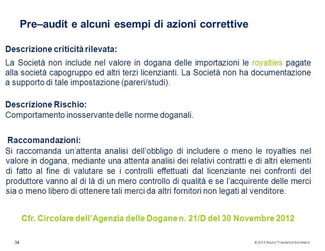 Cfr. Circolare dell'Agenzia delle Dogane n. 21/D del 30 Novembre 2012