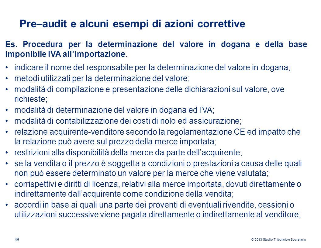 Pre–audit e alcuni esempi di azioni correttive
