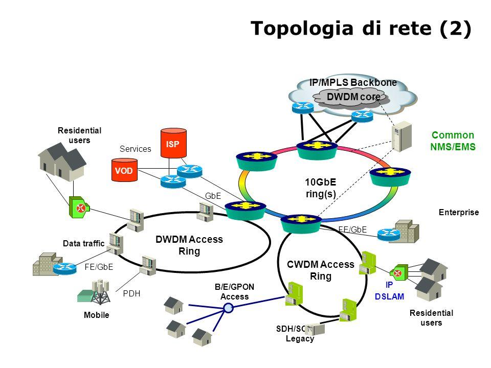 Topologia di rete (2) IP/MPLS Backbone DWDM core Common NMS/EMS