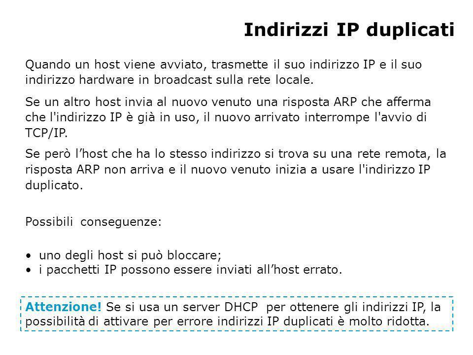 Indirizzi IP duplicati