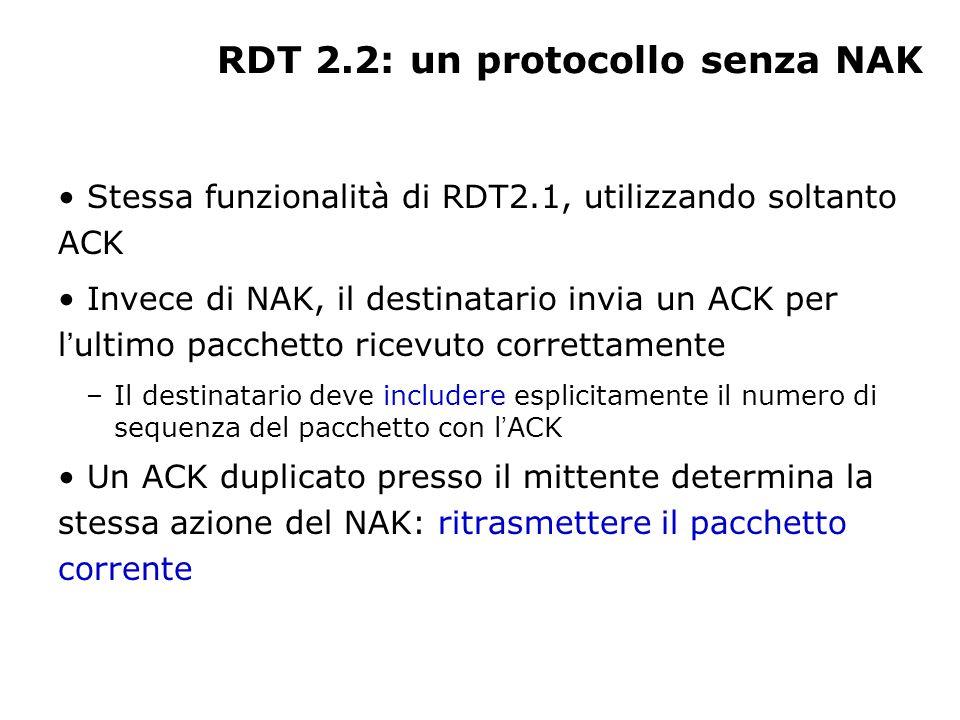 RDT 2.2: un protocollo senza NAK