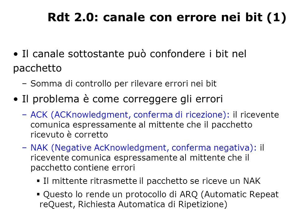Rdt 2.0: canale con errore nei bit (1)