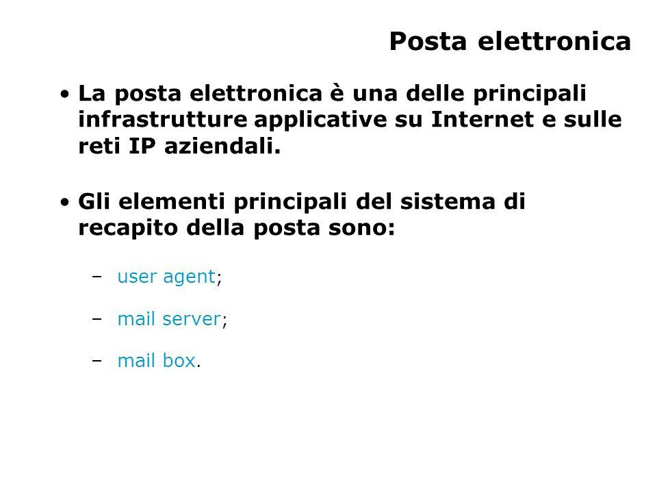 Posta elettronica La posta elettronica è una delle principali infrastrutture applicative su Internet e sulle reti IP aziendali.