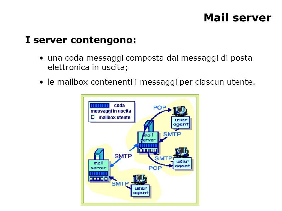 Mail server I server contengono: