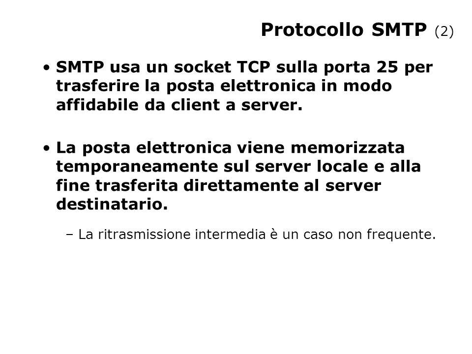 Protocollo SMTP (2) SMTP usa un socket TCP sulla porta 25 per trasferire la posta elettronica in modo affidabile da client a server.