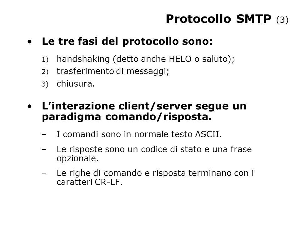 Protocollo SMTP (3) Le tre fasi del protocollo sono: