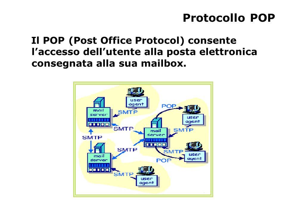 Protocollo POP Il POP (Post Office Protocol) consente l'accesso dell'utente alla posta elettronica consegnata alla sua mailbox.