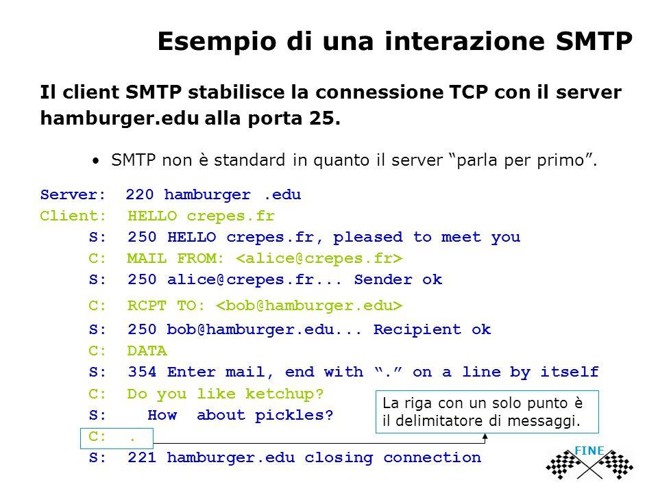 Esempio di una interazione SMTP